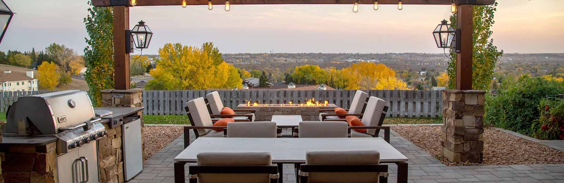 Outdoor Living Space with BBQ Grill Firepit and table